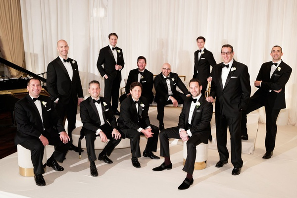 Wedding ceremony chicago groom and groomsmen tuxedo attire black tie white gold lounge furniture