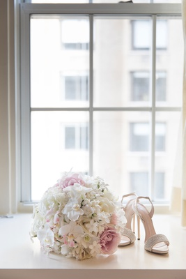 Giuseppe Zanotti sandal wedding heels bouquet with orchid pink rose white stephanotis blossom