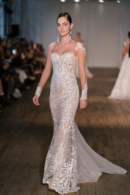 70b18427 Berta spring 2019 bridal collection wedding dress sheer long sleeve lace  applique dress bodycon