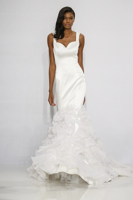Christian Siriano for Kleinfeld Bridal mermaid wedding dress with straps and ruffle skirt