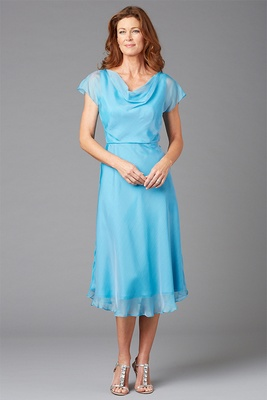 Siri Spring 2016 mother of the bride dress Jenny cowl neck blue dress and flutter sleeves Jenny
