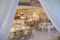 wedding reception gold details white pink mirror reception tables dance floor white drapery