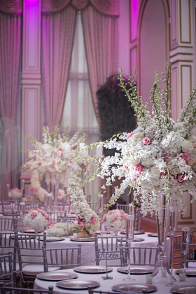 blush pink white silver grey wedding color palette tall centerpiece ashley alexiss wedding reception