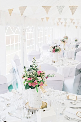 white DIY tablescapes garden concept centerpieces wildflowers gold details english garden wedding