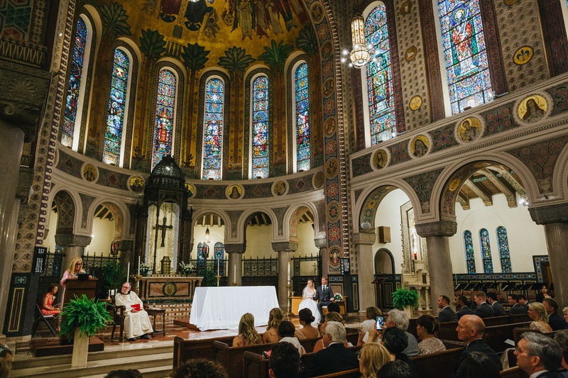 Ceremony dcor photos church wedding with stained glass windows catholic church wedding with tall ceilings and stained glass windows junglespirit Image collections