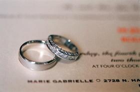 Diamond wedding ring with a man's wedding band