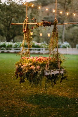grilled vegetable garden on swing rustic chic wedding professional event lights votives california