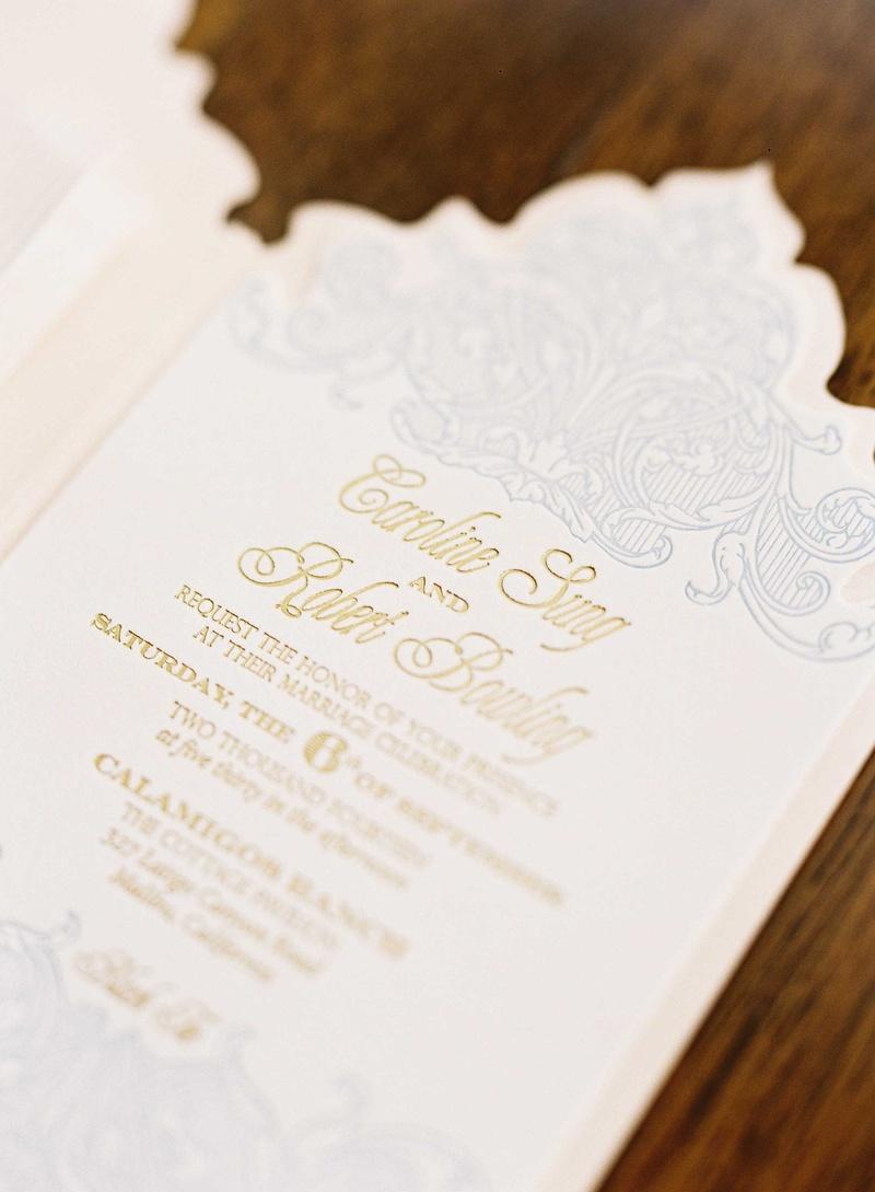 Invitations & More Photos - Light Blue & Gold Wedding Invitation ...