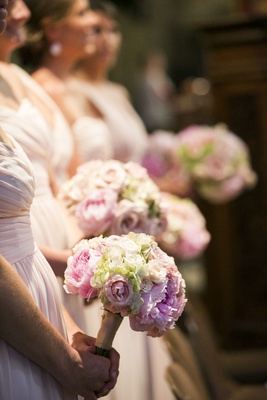 Peony and hydrangea bridesmaid bouquet in pink and white