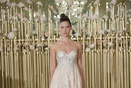 Francesca Miranda Spring 2018 bridal collection Gaelle wedding dress sweetheart neckline blush gown