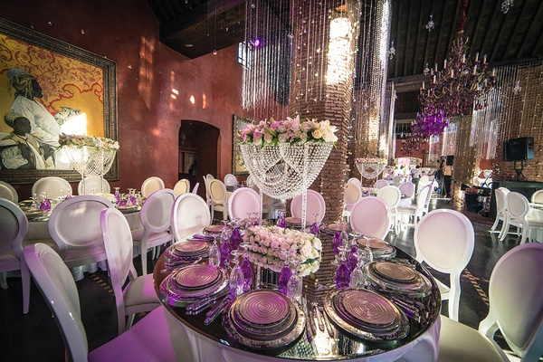 modern metallic reception concept purple lighting uplighting destination wedding marrakech morocco