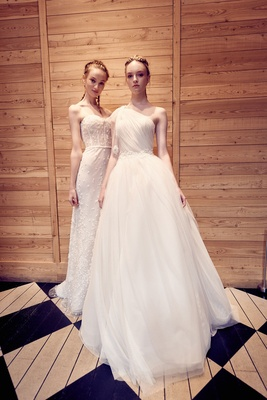 Isabelle Armstrong fall 2018 wedding dress gabriella strapless gown and martina one shoulder dress