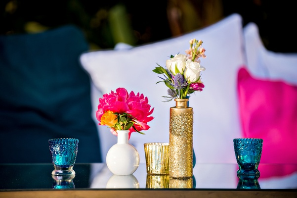 Jonathan Adler inspired wedding decorations vases and candles