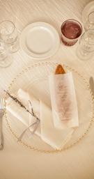 Baguette inside sheer bag printed with menu