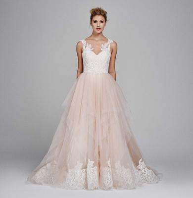 dd090434c6f Kelly Faetanini fall winter 2017 wedding dress Azalea a line gown blush  skirt tulle lace applique.
