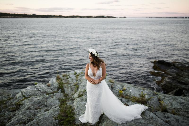 bride gown berta bridal plunging neckline coast embellishments tulle flower crown