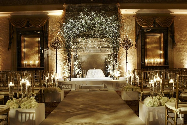 All White Indoor Wedding Ceremony Site: Seaside Winter Wedding In Palm Beach, Florida