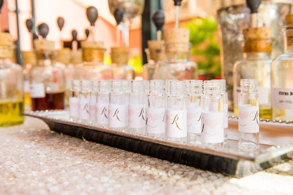 Wedding shower with perfume station & bottles with the couple's initials on labels