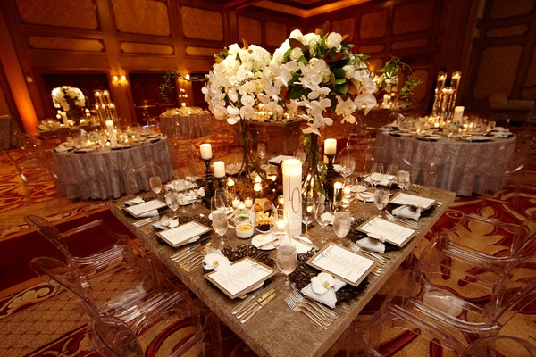Ballroom wedding with modern and rustic details