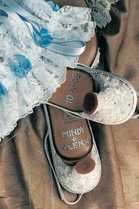 Rhinestoned heels and something blue garter