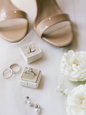 wedding accessories white flowers tan sandals heels velvet mrs box initial halo engagement ring