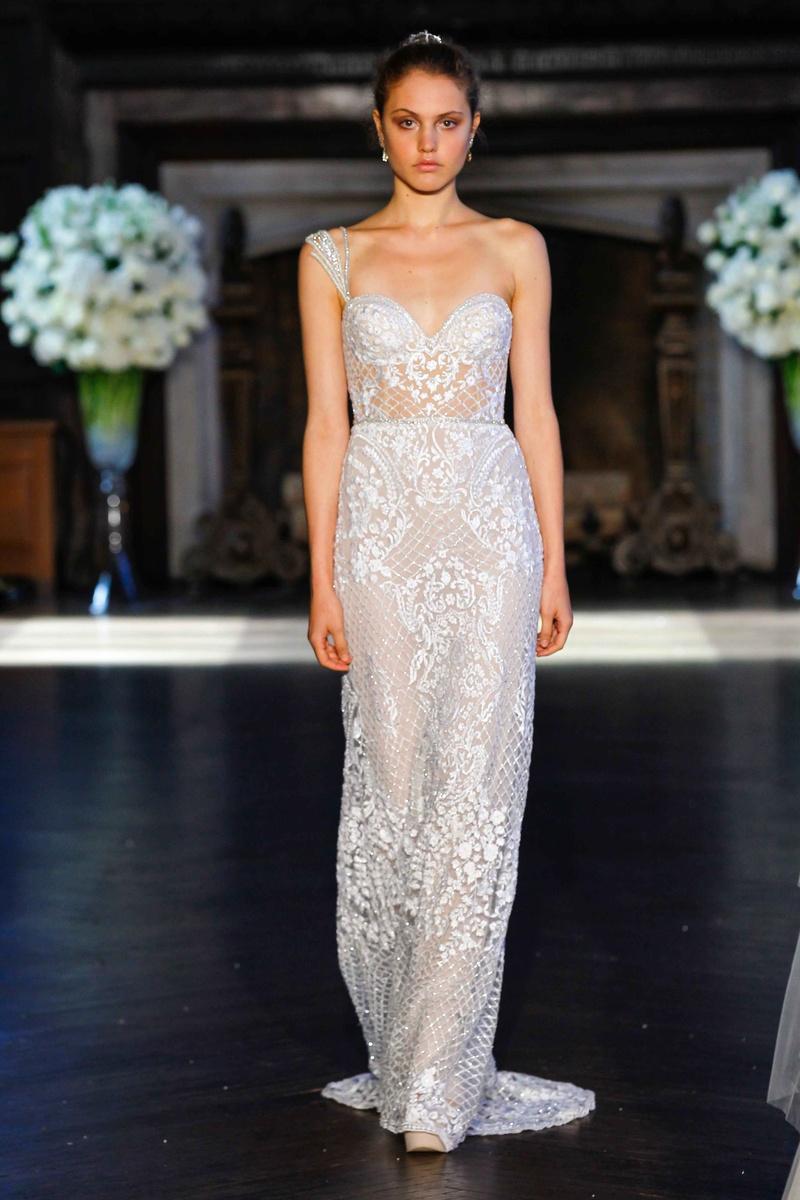 55138c2274d2 Alon Livné White Fall 2016 one shoulder strap sheer lace wedding dress.
