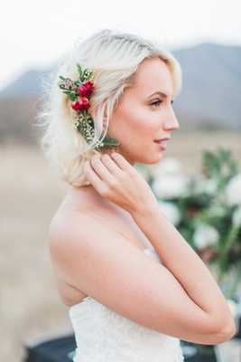 natural floral hair accessory leaves red headpiece boho rustic california bride wedding