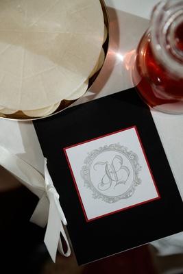 wedding ceremony program elizabeth grace black stationery white ribbon red border silver monogram