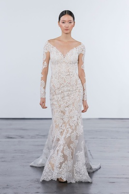 Dennis Basso for Kleinfeld 2018 collection wedding dress long sleeve sheer lace applique gown