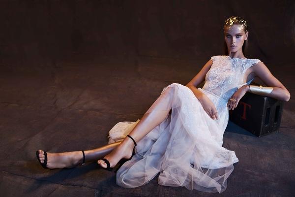 Limor Rosen 2017 Anastasia wedding dress full lace skirt with blush tulle tip of shoulder sleeves