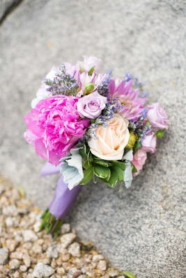berry tones pink purple green bouquet of flowers for a bridesmaid in arizona