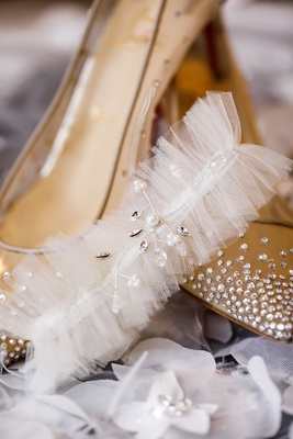 shannon tahir wedding shoes christian louboutin mesh crystal rhinestones lingerie garter crystals