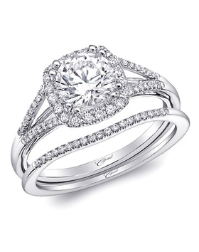 Split shank halo ring with diamonds and matching band