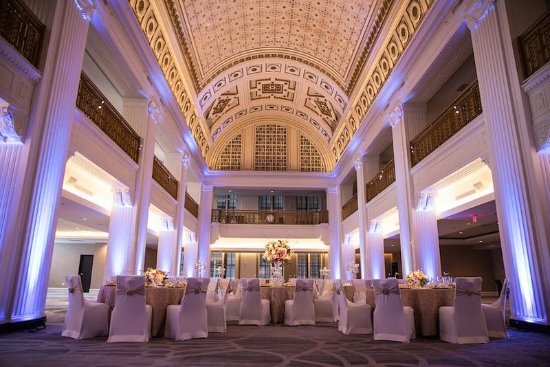 Wedding Reception In Renaissance Downtown Cincinnati Hotel Blue Uplighting Gold Details