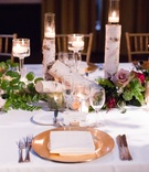 wedding reception centerpieces with Sections of Birth Tree, Candles, Greenery, and Roses