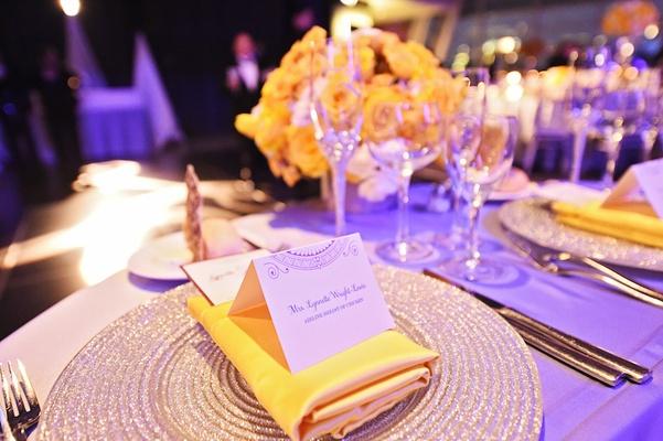 City Wedding at Chicago Planetarium with Purple + Yellow Palette ...