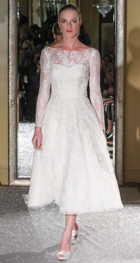 Tea-length wedding dress by Oleg Cassini
