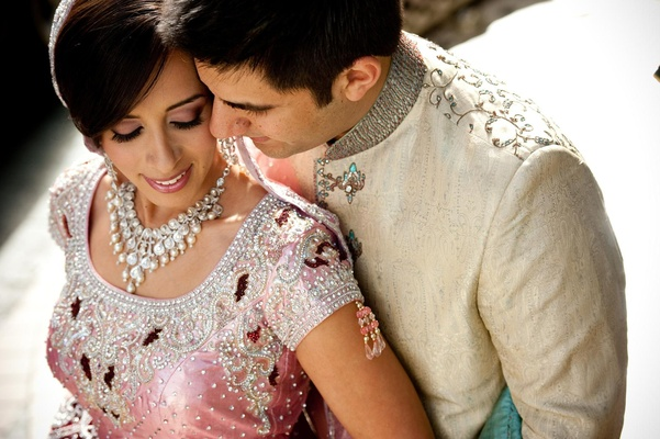 Indian American couple in traditional lengha