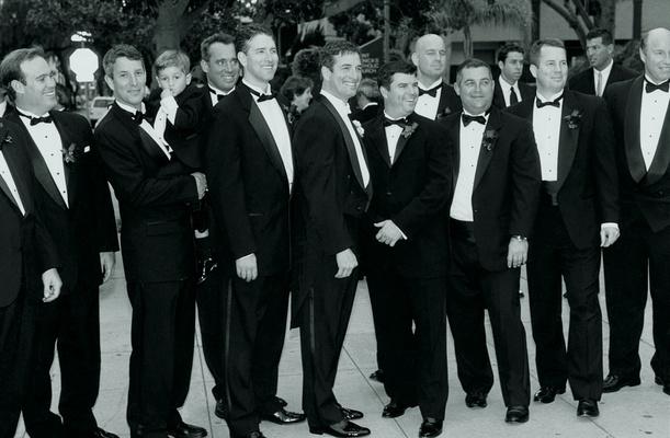 Dapper groomsmen in black tie attire