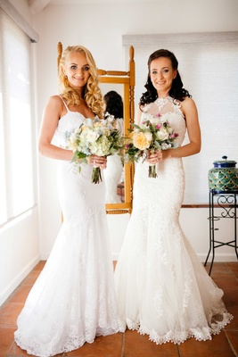 mermaid wedding gowns, two brides, California wedding double Malibu wedding