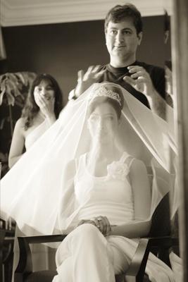 Black and white photo of bridal loungewear