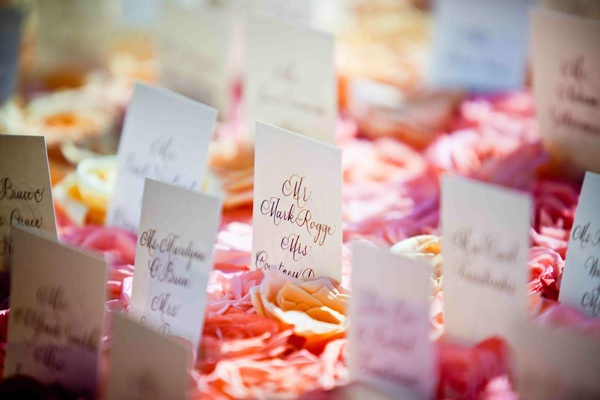 Rectangular seating cards in bed of roses