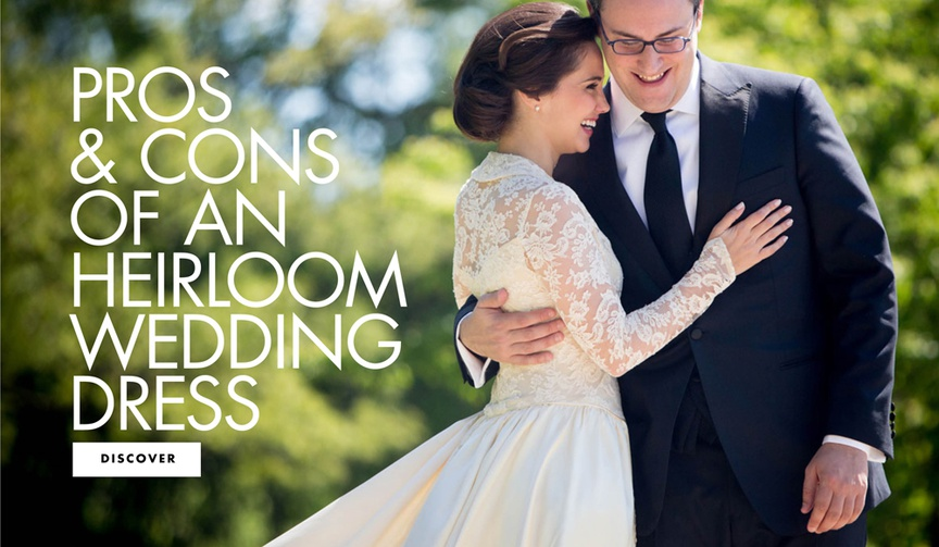 pros and cons of an heirloom wedding dress wedding gown
