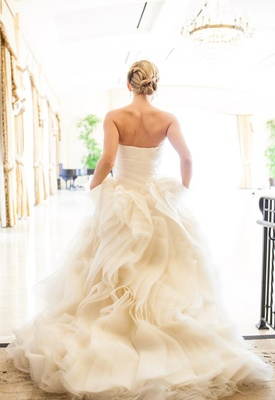 Back of Vera Wang wedding dress with ruffles