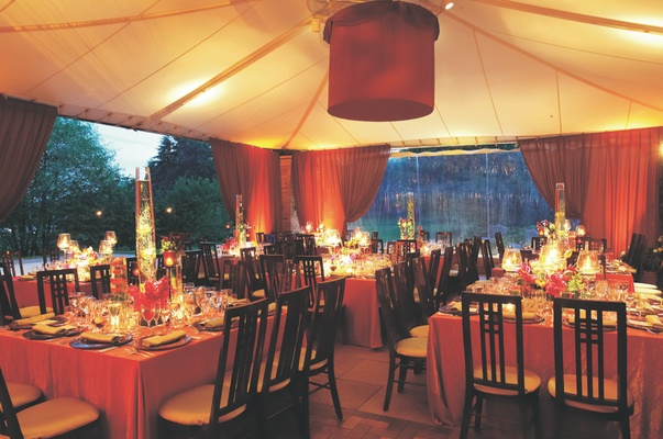 Tented wedding reception with views of the Chicago Botanic Gardens' grounds