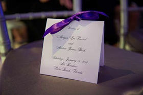 Morgan Pressel wedding program with purple ribbon