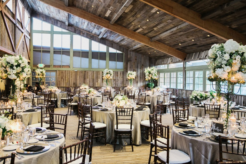 calamigos ranch redwood room reception, rustic wood ceiling, white and green centerpieces