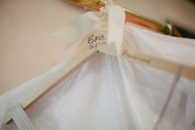 Bridesmaid dress hanger personalized with name and wedding date
