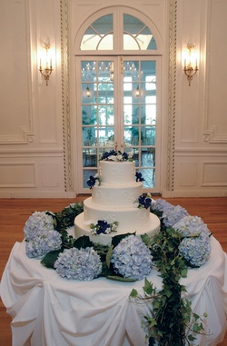 Wedding cake with blue flower deecorations