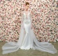 Michael Costello spring summer 2018 bridal couture collection illusion bodice deep v neck dress